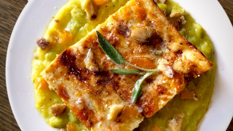 Lasagne alla zucca porri e castagne
