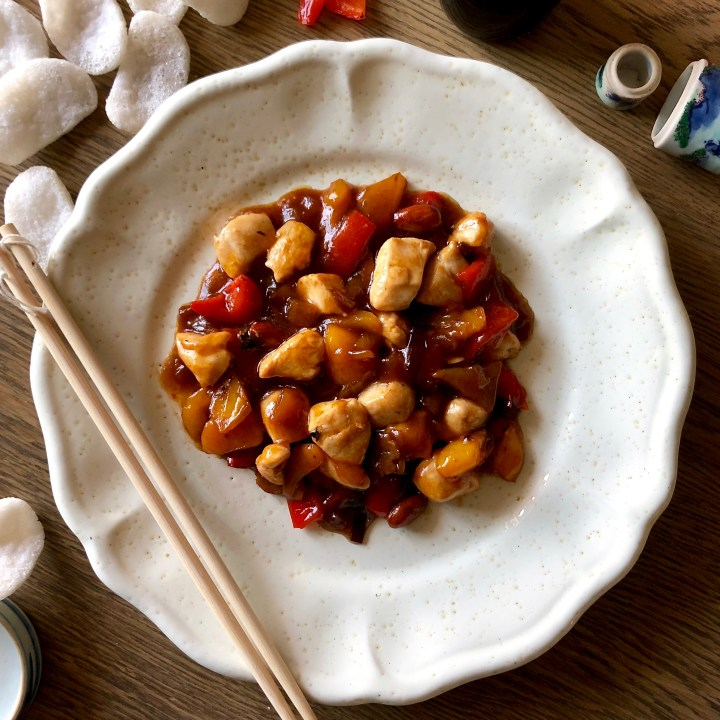 Pollo alle mandorle e peperoni alla cinese