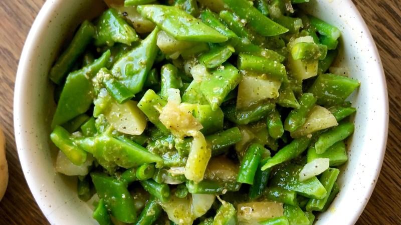 Insalata tiepida di taccole e patate al pesto