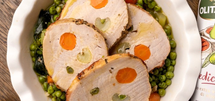 arista all'olio Olitalia con verdure e piselli