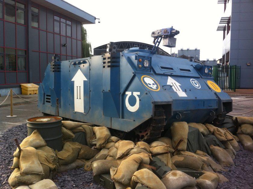 Ultramarines Life Size Rhino outside Warhammer World