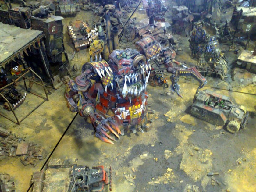 On display at GamesDay 2010, Ork Stompa with Forge World variants