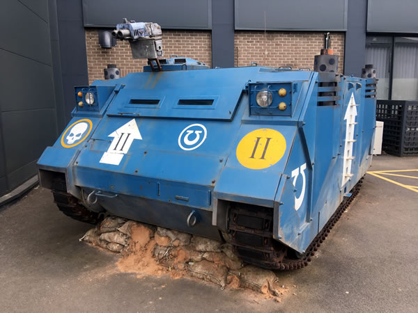 Life Size Rhino outside Warhammer World.