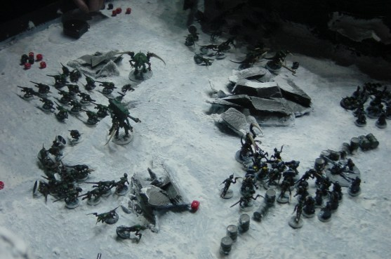 Tyranids attack Space Marine Scouts in the snow and ice.