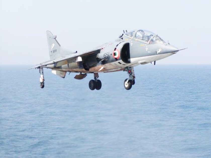 Vertical take off by an Indian Navy Sea Harrier