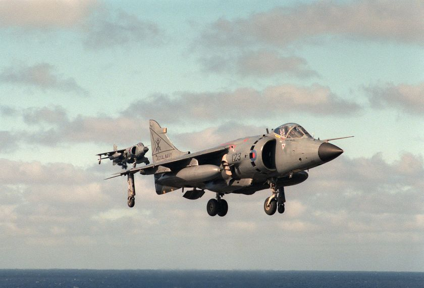 800 NAS Sea Harrier FRS1 from HMS Illustrious in post-Falklands War low-visibility paint scheme.