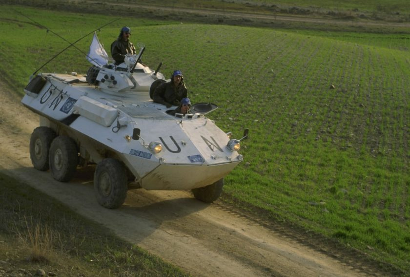 UN Grizzly Patrol Vehicle moves across the Somerset levels.