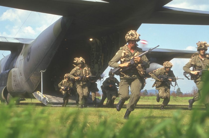 Canadian forces land at Bristol Airport.