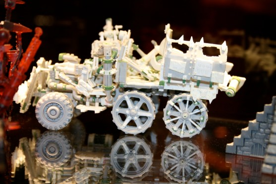 Ork Trukk concept, notice the wheels which are very different to the finished model. This has been made from plastic and plasticard.