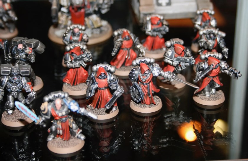 Iron Knights Space Marines (making clever use of the Dark Angels sprues)