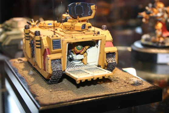 """This Damocles Command Rhino won the Forgeworld Best of Show prize in the 2005 UK Golden Demon awards. The radar dish moved around and as you can see in this shot, the inside included """"real"""" lights (made from LEDs). It was very well painted and made good use of the Forgeworld Imperial Fists doors."""