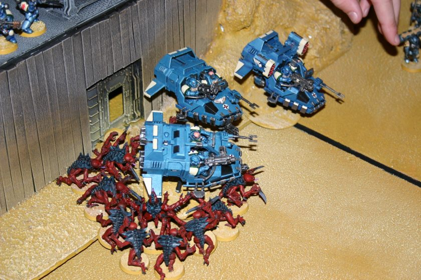 Ultramarines Land Speeders under attack by Tyranids