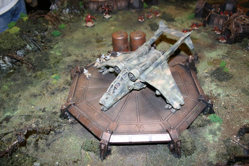 Forgeworld display of Valkyrie touching down on landing pad.
