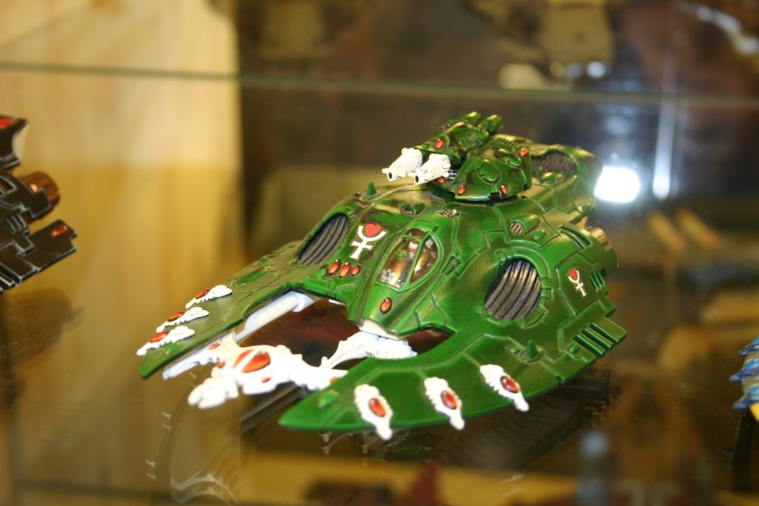 Eldar Wave Serpent from the Forgeworld display cabinets.