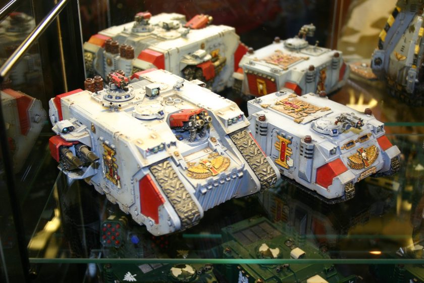 Inquisitor Rhino next to Inquisitor Land Raider