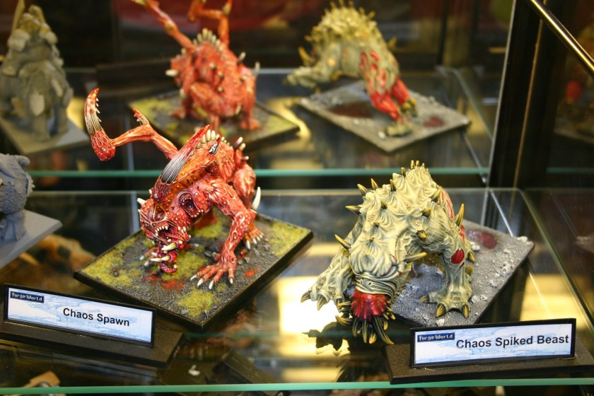 Chaos Spawn and Spiked Beast from the Forgeworld Display cabinets...