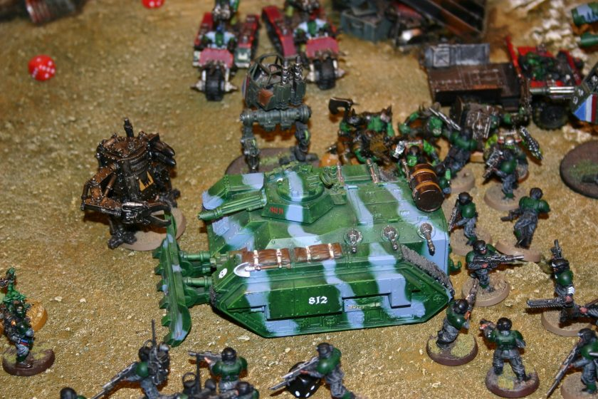 Imperial Guard Chimera fighting Orks from a participation game at GamesDay 2006.