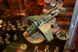 Vulture Gunship which is part of Owen Rees' Imperial Guard - The 374th Tahnelian Airborne, in the White Dwarf display cabinets at GamesDay 2006.