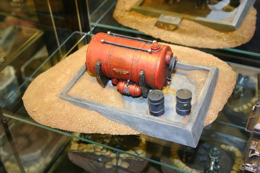 Forgeworld Fuel (or Water) Tank in desert setting. From the Forgeworld display cabinets at GamesDay 2006.