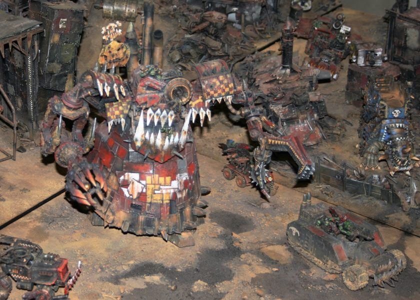 On display at GamesDay 2010, Ork Stompa with Forge World variants.