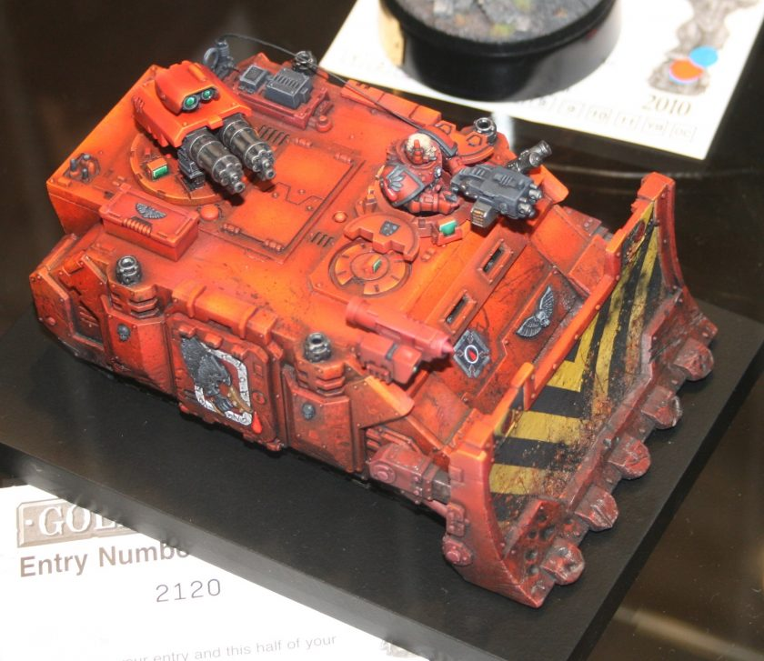 Space Marine Razorback with Forgeworld Dozer Blade, entered into the Golden Demon awards at GamesDay 2010.