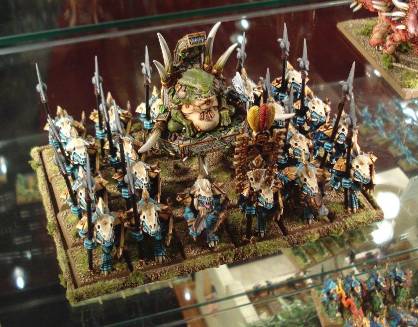 Saurus Warrior Unit led by Slann as seen at Warhammer World