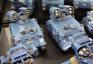 Ultramarines Space Marine Whirlwind on display at Warhammer World.