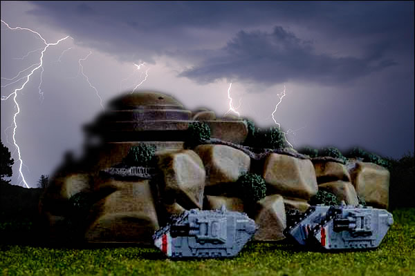 Land Raiders on patrol during a storm