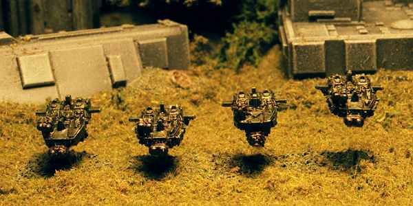 """A """"RavenWing"""" formation of Land Speeders launches itself along the flank (this image was digitally altered to remove the flying bases)."""