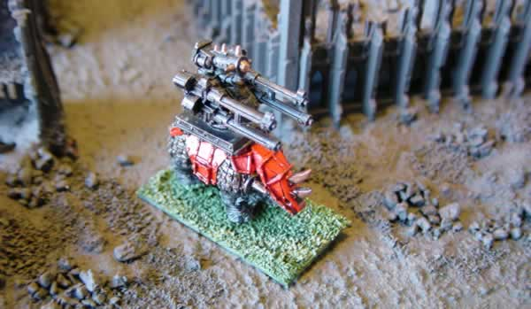 A Squiggoth with a combi-weapon of a Hydra Flak Gun and an Ork Big Gunz.