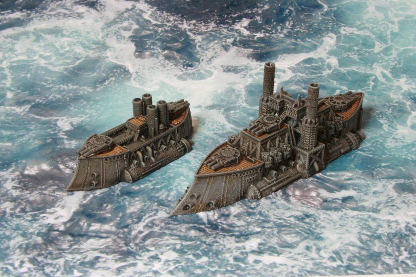 HMS Richard III Ruler Class Battleship alongside HMS Zulu.
