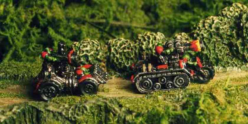 Epic Ork Buggy and Wartrakk on patrol