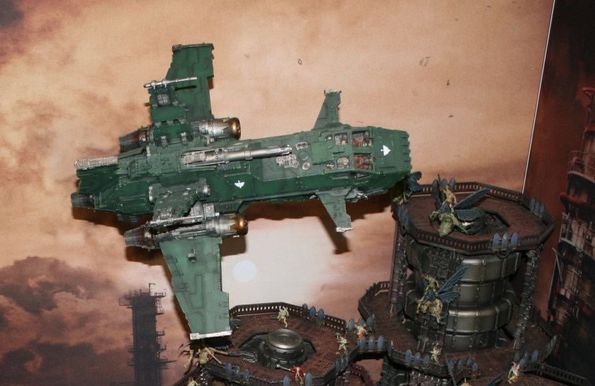 Dark Angels Thunderhawk swooping out from its strafing run.