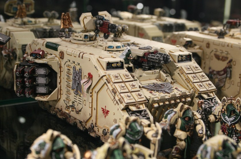 Dark Angels Death Wing Land Raider Crusader on display at Warhammer World