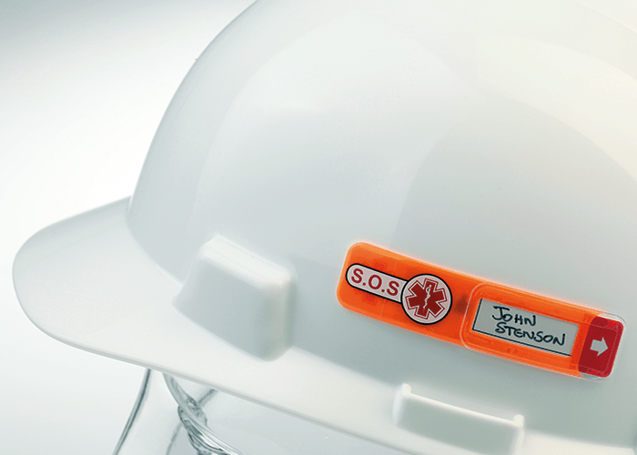 Specifically formulated adhesive eliminates damage to the helmet. Image courtesy of Vital ID.