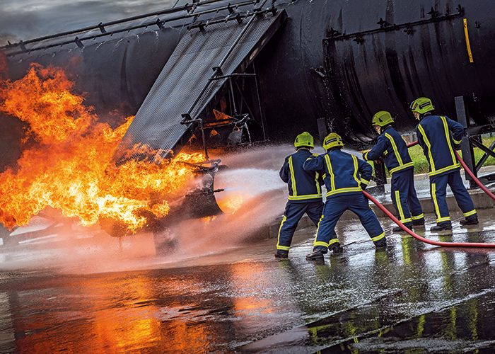 A mock engine fire at BAE Systems' fire service's training facility, which is set up to replicate a BAE 146 airliner.