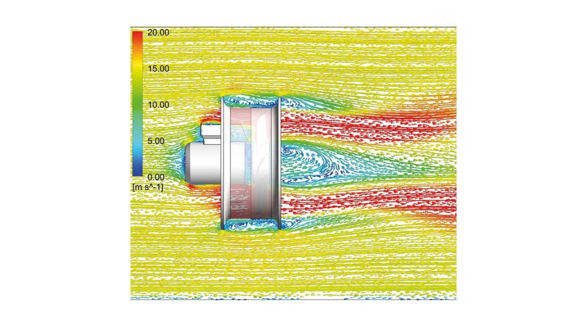 Figure 3: Air flow through the fan and surrounding it – the surrounding air flow pulled by the fan can be clearly seen.