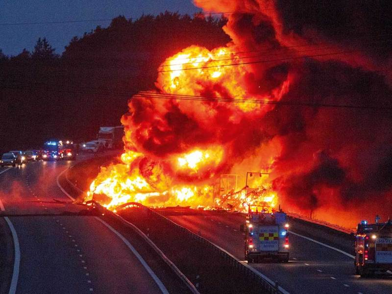 Figure 1. A tanker and a lorry caught fire after a rear-end collision near Kungälv, Sweden.2