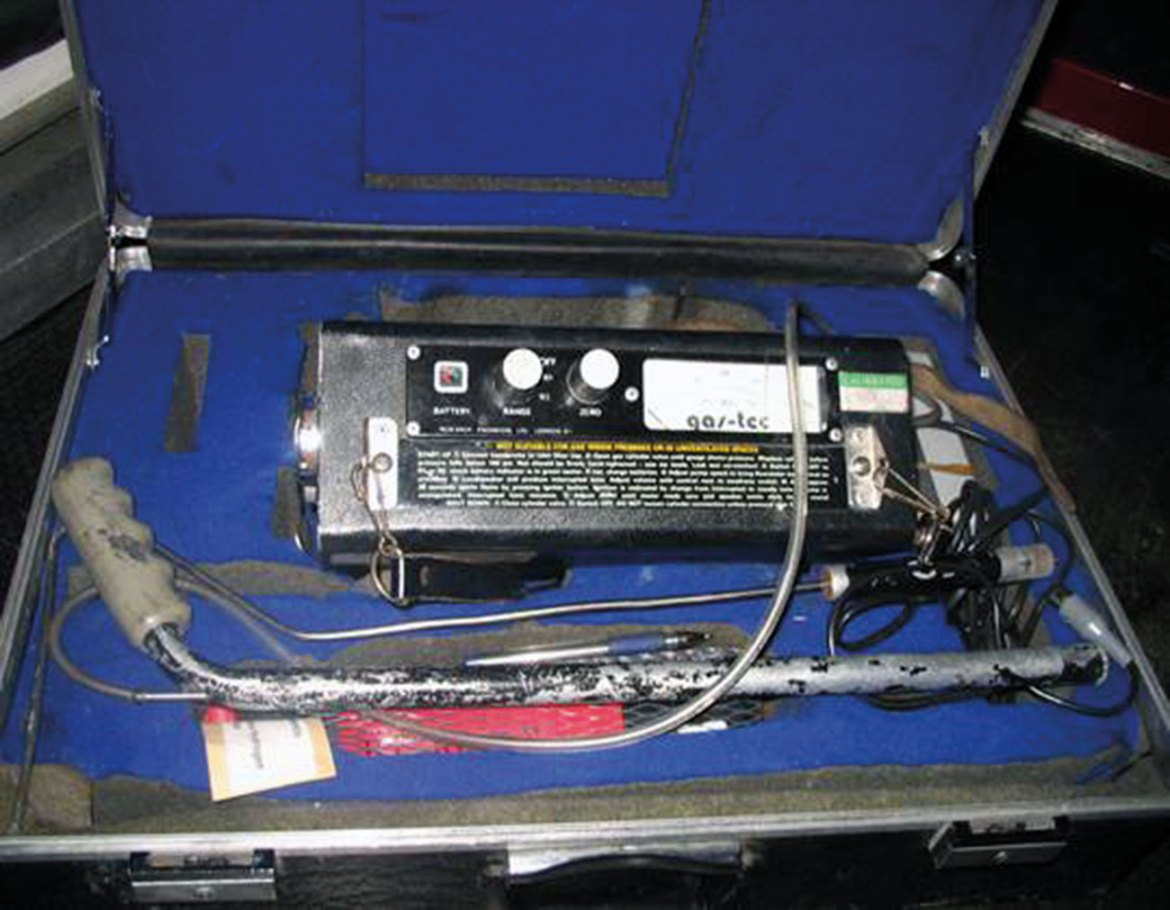 This is an image of a gas tec, it is carried on our vehicles and is a tool used to detect Hydrocarbons when it is suspected that accelerants are present. If a positive reading is noted then the fire Investigation dog is deployed and the police called if not already present, who then take primacy. The gas tec is an indicator, it does not mean that ignitable liquids are present deliberately