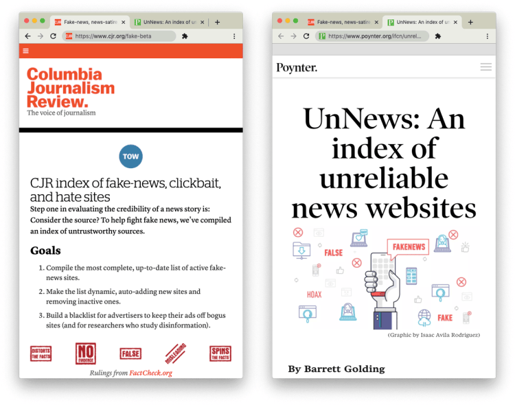 CPR and Poynter webpages for the index of unreliable sources
