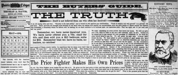 Daily Public Ledger masthead, 1898: The Truth
