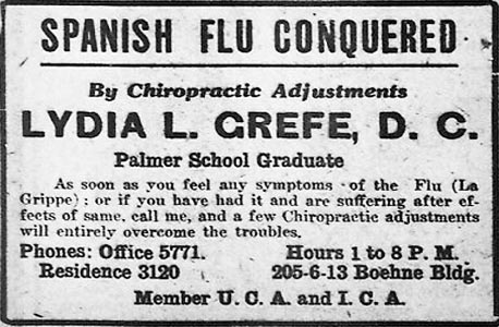 1918 Flu Ad: Spanish Flu Conquered, by chiropratic adjustments