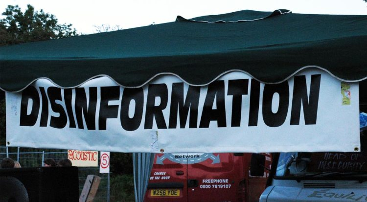 Disinformation awning at a music festival