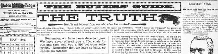 The Truth column in the Public Ledger newspaper, published in 1898