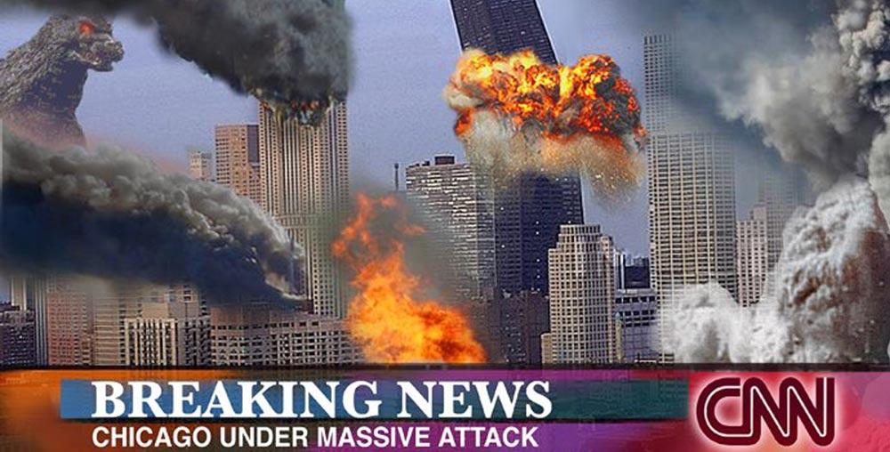 CNN broadcast: Godzilla attacks Chicago