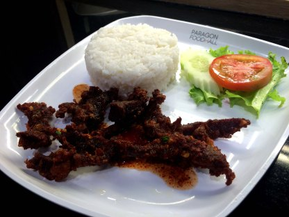 Mall food: Beef satay with rice