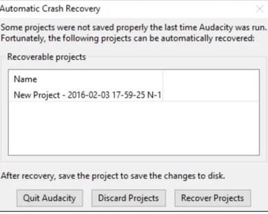 Audacity crash recovery