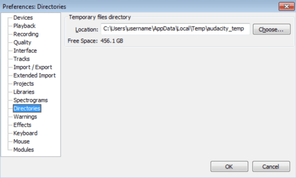 Audacity directories
