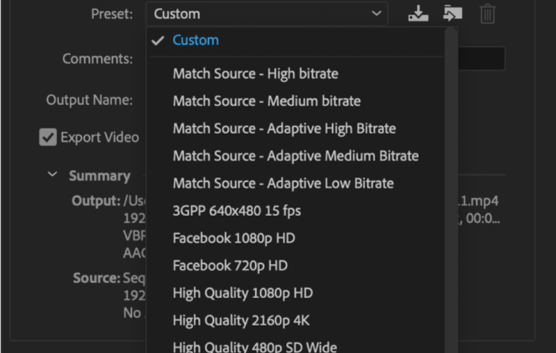 Select the format and the codec