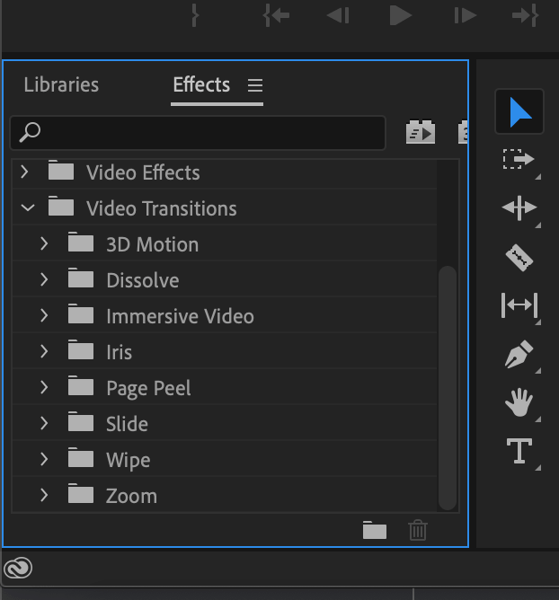 Choose a transition in Premiere Pro